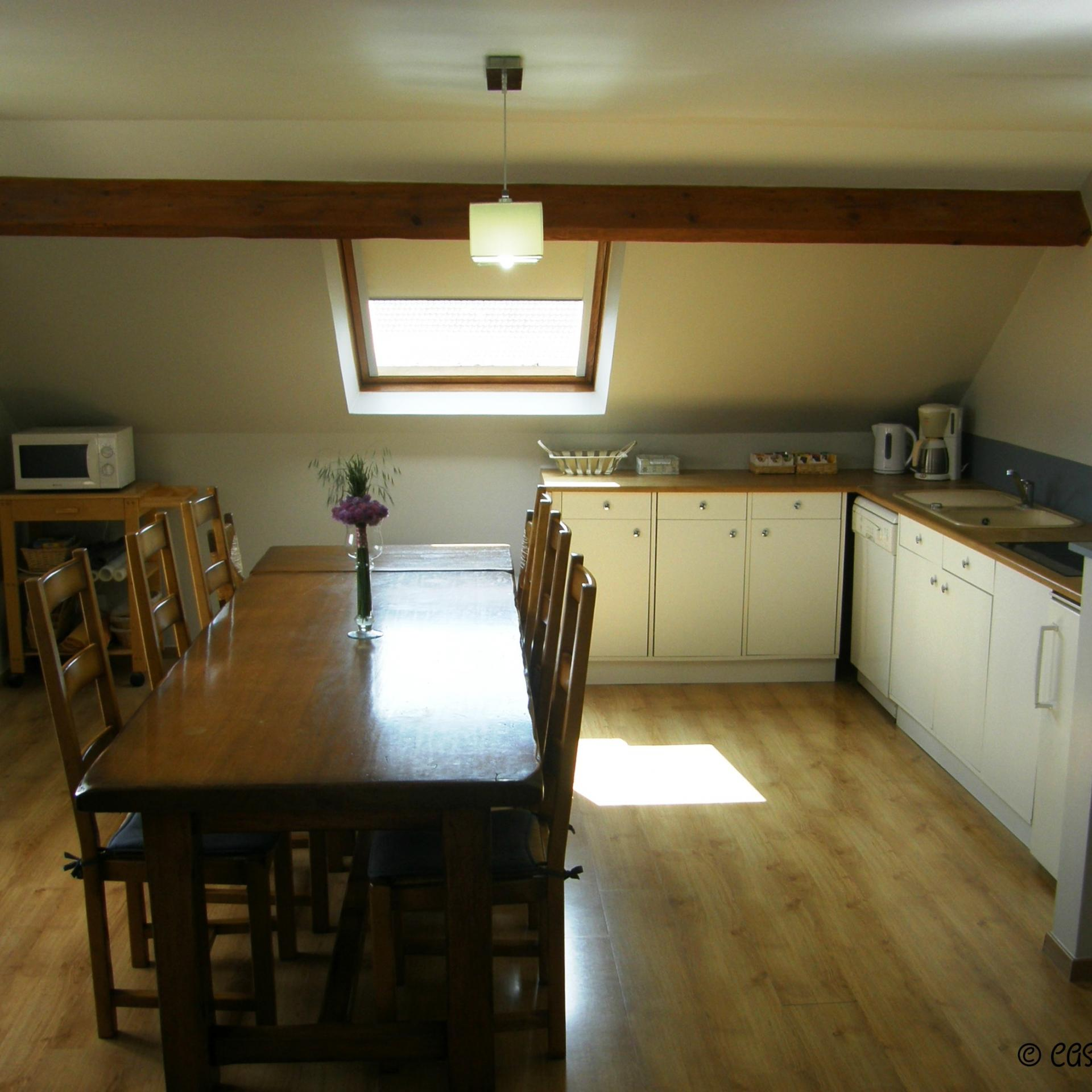 The linving room and the kitchen