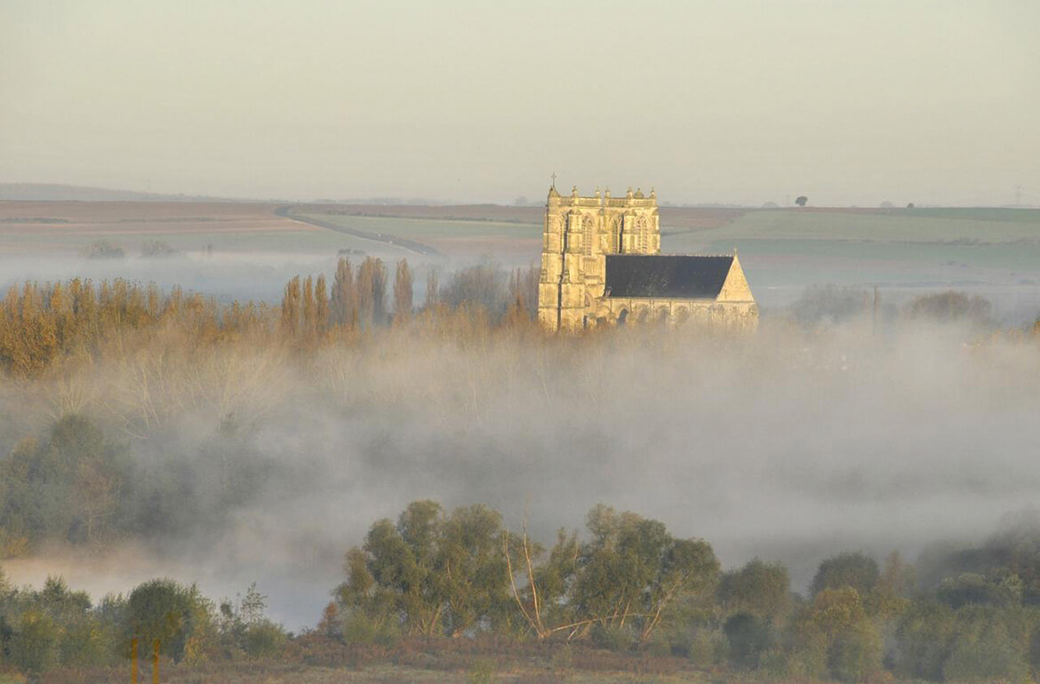The abbatial in the morning mist